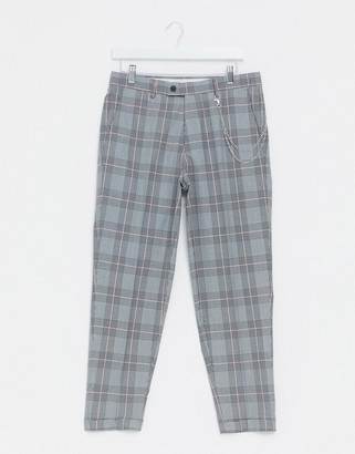 Burton Menswear tapered smart trousers with chain in grey check