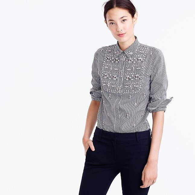 Thomas Mason Collection for J. Crew embellished gingham button-up shirt