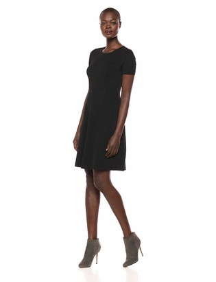 Lark & Ro Women's Half Sleeve Paneled Fit and Flare Dress
