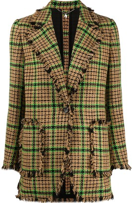 MSGM Checked Tweed Single-Breasted Blazer