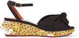 Charlotte Olympia Panthera Suede And Enamel Wedge Sandals - Black
