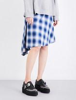 Maison Margiela Asymmetric checked cotton skirt