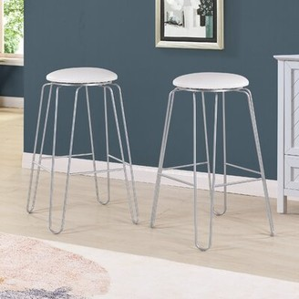 """Mabella Bar & Counter Stool Mercer41 Color: White Faux Leather/Silver, Seat Height: Bar Stool (30"""" Seat Height)"""