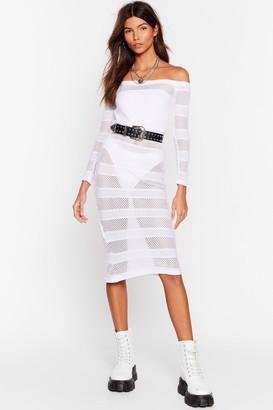 Nasty Gal Womens Stop Stripe Now Mesh Midi Dress - White - 8, White