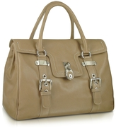 Buti Medium Grained Leather Flap Satchel Bag