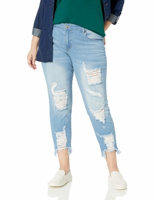 Cover Girl Women's Plus Size Ripped Distressed Fray Hem Skinny