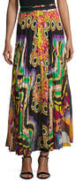 Roberto Cavalli Printed Pleated Maxi Skirt, Green/Multi
