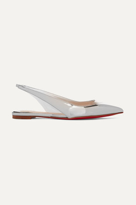 Christian Louboutin V Dec Pvc And Metallic Leather Slingback Point-toe Flats - Silver
