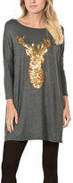 Charcoal Reindeer Three-Quarter Sleeve Tunic Dress - Plus