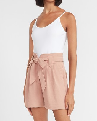 Express Super High Waisted Soft Belted Shorts
