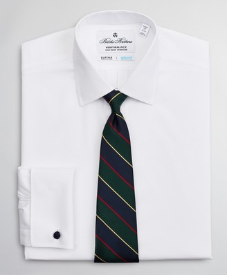 Brooks Brothers Soho Extra-Slim Fit Dress Shirt, Performance Non-Iron with COOLMAX, Ainsley Collar Twill French Cuff