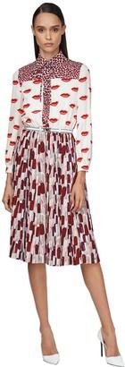 Prada Pleated & Printed Crepe De Chine Dress