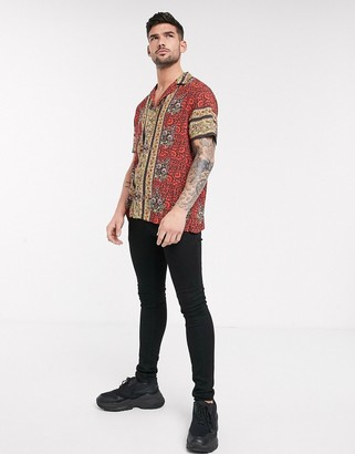 Topman revere collar shirt with floral hem in red