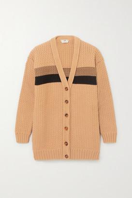 Fendi Striped Cotton-blend Cardigan - Brown