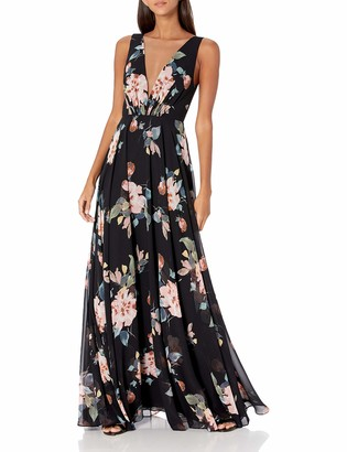 Jenny Yoo Women's Ryan Plunging V Neck Long Chiffon Floral Printed Gown