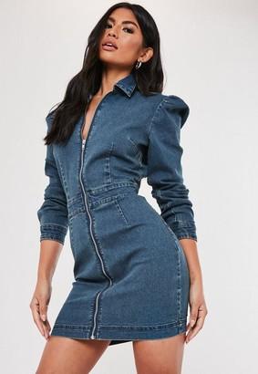 Missguided Denim Puff Sleeve Zip Front Dress