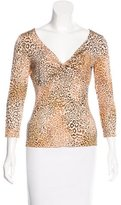 Les Copains Leopard Print Three-Quarter Sleeve Top
