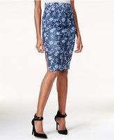 GUESS High-Waist Floral-Print Denim Skirt