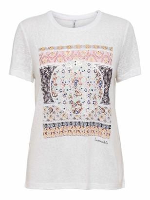 Only Women's Onlpiper Reg S/s Print Top Box JRS T-Shirt