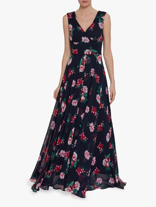 Gina Bacconi Edana Floral Maxi Dress, Black/Multi