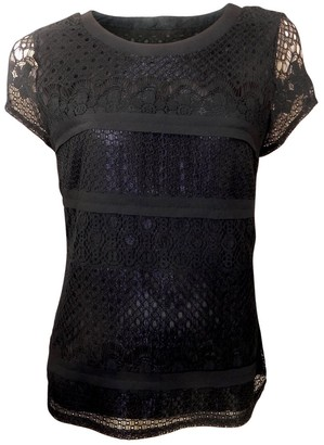 Marks and Spencer Short Sleeved Black Lace Pattern Top with Short Sleeves Lined (10)