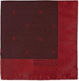 Alexander McQueen Men's Skull Jacquard Silk Pocket Square-RED