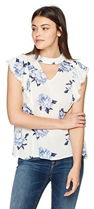 Blu Pepper Women's Floral Short Sleeve Gigi Neck Top