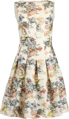 Oscar de la Renta Bateau Neck Full Bottom Dress