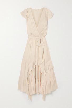 Ulla Johnson Abella Asymmetric Ruffled Crinkled-satin Dress - Cream