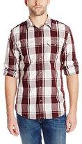 DKNY Men's Long Sleeve Roll Tab Yarn Dye Wide Check Garment Wash Shirt
