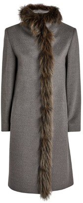 Cinzia Rocca Fox Fur-Trimmed Coat