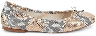 Sam Edelman Felicia Metallic Snakeskin-Embossed Leather Ballet Flats