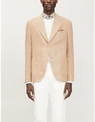 Eleventy Single-breasted slim-fit cotton and linen-blend blazer