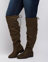 Charlotte Russe Wide Width Tie-Back Riding Boots