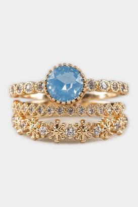 francesca's Larissa Opal Pave Ring Set - Light Blue
