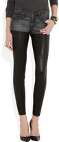 R 13 Chaps stretch-denim and leather low-rise skinny jeans