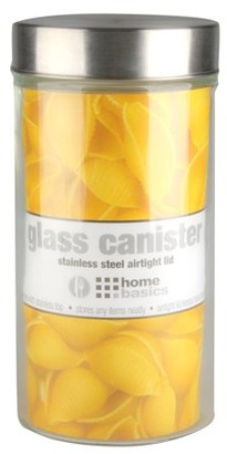 clear Online Large 54 oz. Round Glass Canister with Air-Tight Stainless Steel Twist Top Lid,