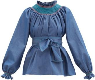 Loretta Caponi Maria Smocked Cotton-poplin Blouse - Dark Blue
