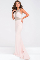 Jovani Crystal Embellished Sheer Neckline Jersey Dress JVN47792