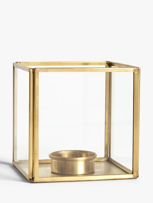 John Lewis & Partners Brass Cube Candle Holder