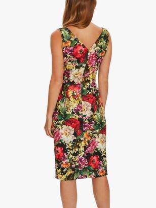 Gina Bacconi Karesa Wrap Floral Midi Dress, Black