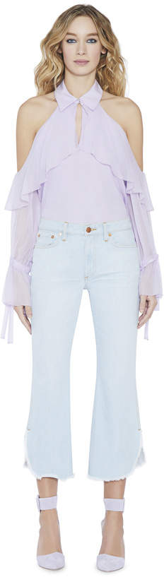 Alice + Olivia Blayne Cold Shoulder Bow Cuff Blouse