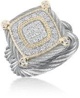 Alor Classique Square Micro-Cable Ring w/ Diamonds, Multi, Size 6.5