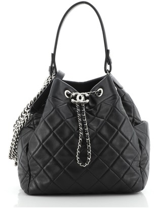 Chanel CC Chain Drawstring Bucket Bag Quilted Lambskin Small