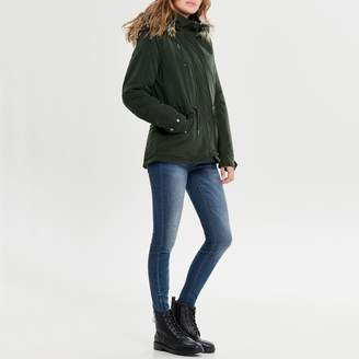 Only Mid-Length Parka with Faux Fur Hood