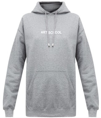 Art School - Logo-print Hooded Cotton Sweatshirt - Womens - Grey
