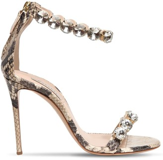 Casadei 100mm Snake Print Leather Sandals