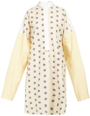 Loewe Anagram-embroidered Cotton-poplin Shirtdress - Womens - White Multi