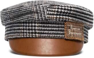 Ruslan Baginskiy houndstooth faux leather-trimmed wool baker boy hat