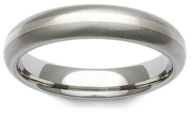 GETi Titanium and 9ct White Gold Stripe Domed 4mm Ring